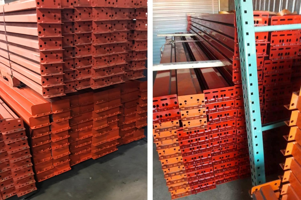 Photo of teardrop style beams for pallet racking