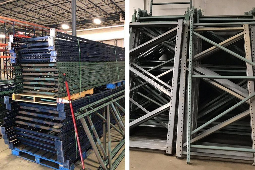 Photo of teardrop style uprights for pallet racks