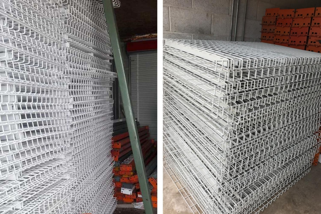 Photo of wire decking used in pallet racks